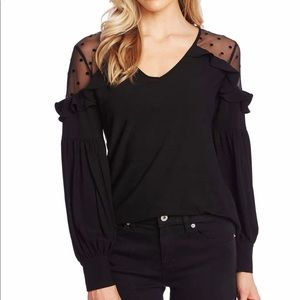 (XS) Long sleeve knot top with flock dot mesh